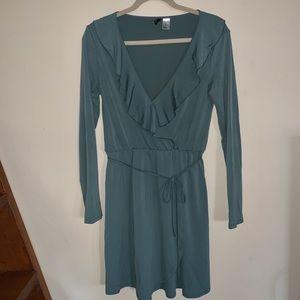Blue/Sage Long Sleeve Wrap Dress w/ Ruffle Detail
